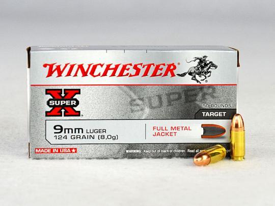 WINCHESTER 9 mm Luger, FMJ 124 grs 1 Packung (50 Schuss á 0,338 €*)