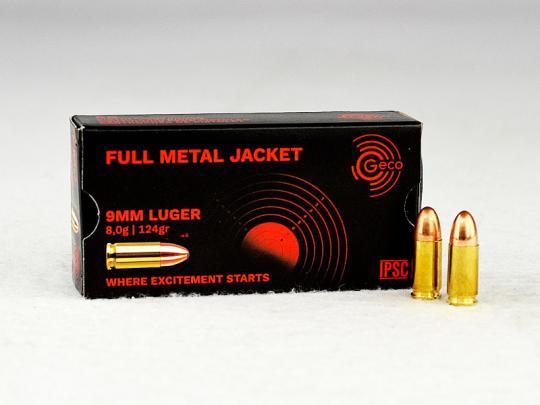 GECO 9 mm Luger, Vollmantel-Rundkopf 124 grs 1 Packung (50 Schuss á 0,372 €*)